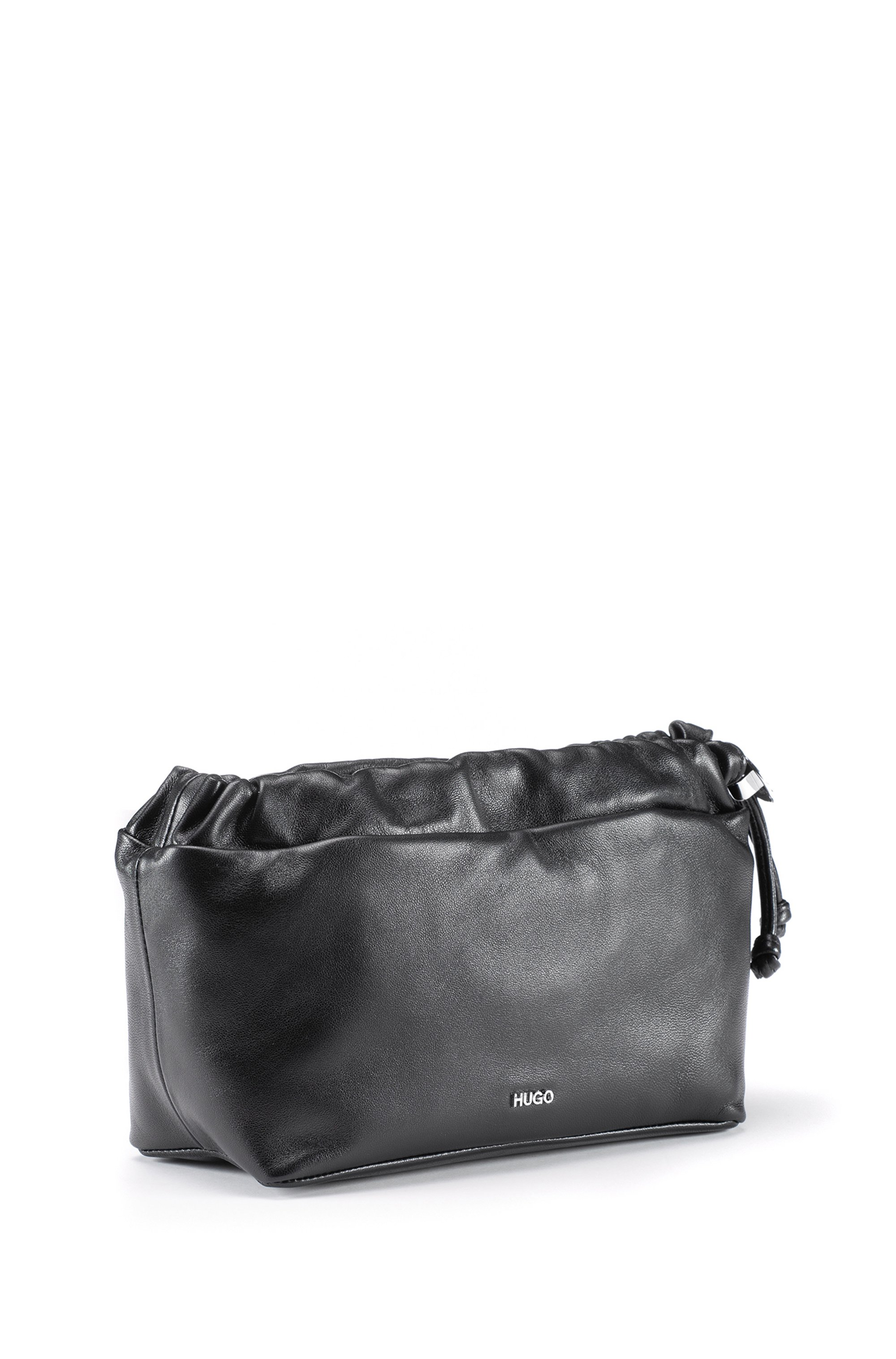 Cross-body bag in nappa leather with drawstring closure