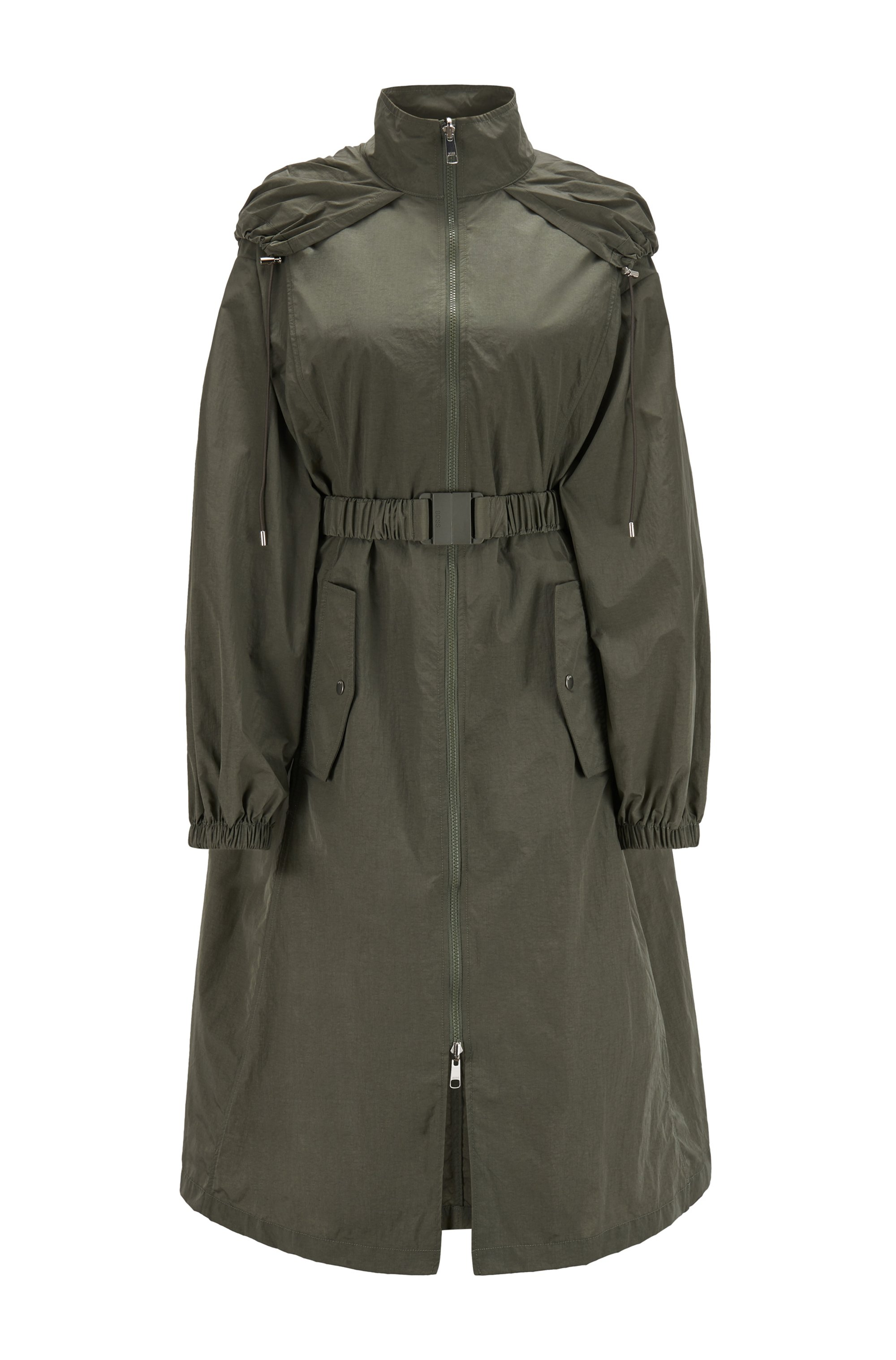 Packable oversized-fit parka with water-repellent finishing, Dark Green