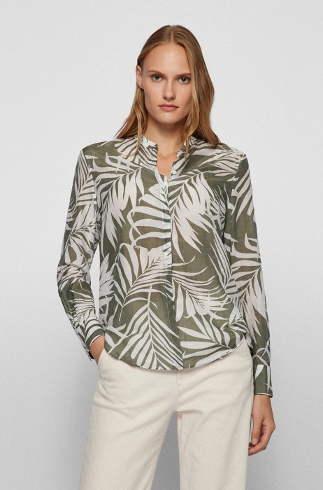 Printed relaxed-fit blouse in cotton-silk voile, Patterned