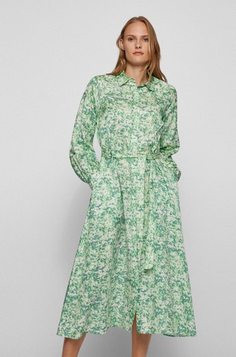 Shirt dress in cotton and silk with floral print, Patterned