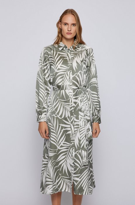 Shirt dress in cotton and silk with floral print, Grey Patterned