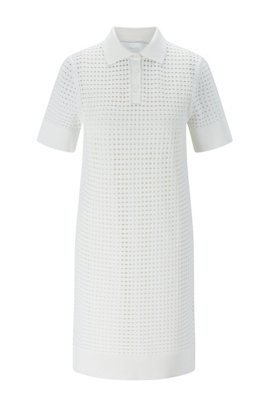 Openwork short-sleeved dress with polo collar, White