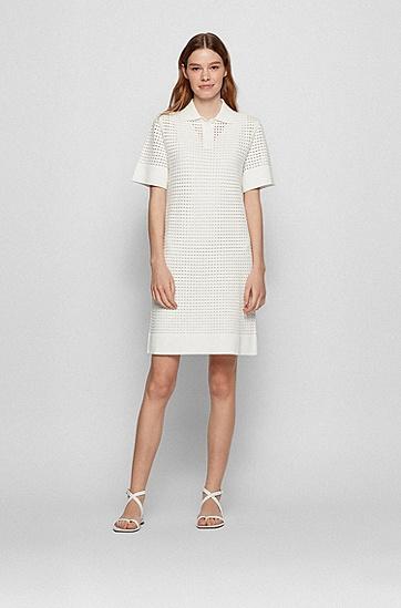 Polo 领镂空工艺短袖连衣裙,  118_Open White