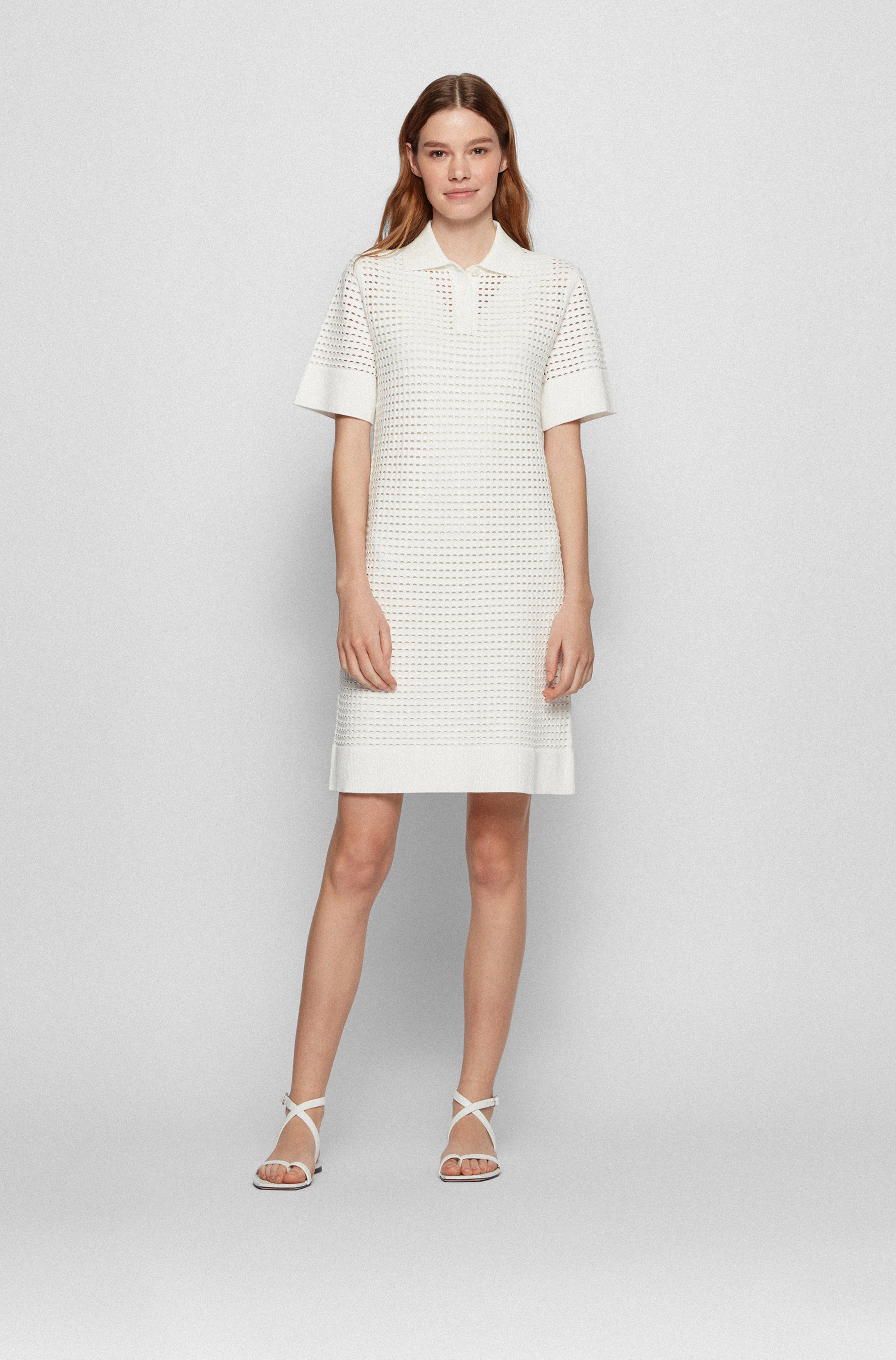 Openwork short-sleeved dress with polo collar