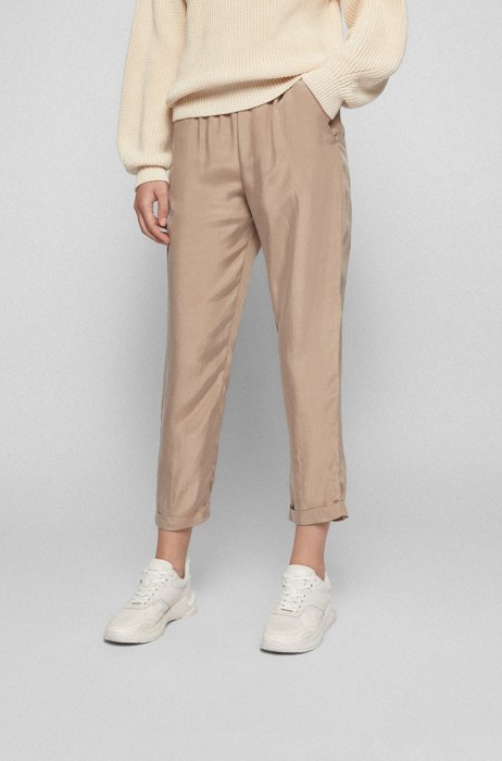Regular-fit cropped tracksuit bottoms in lightweight fabric, Beige