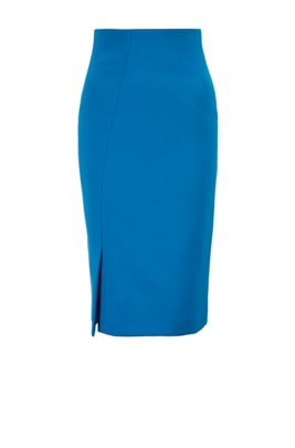 Stretch pencil skirt with asymmetric front slit, Light Blue