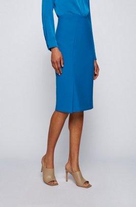 Stretch pencil skirt with asymmetric front slit, Light Blue