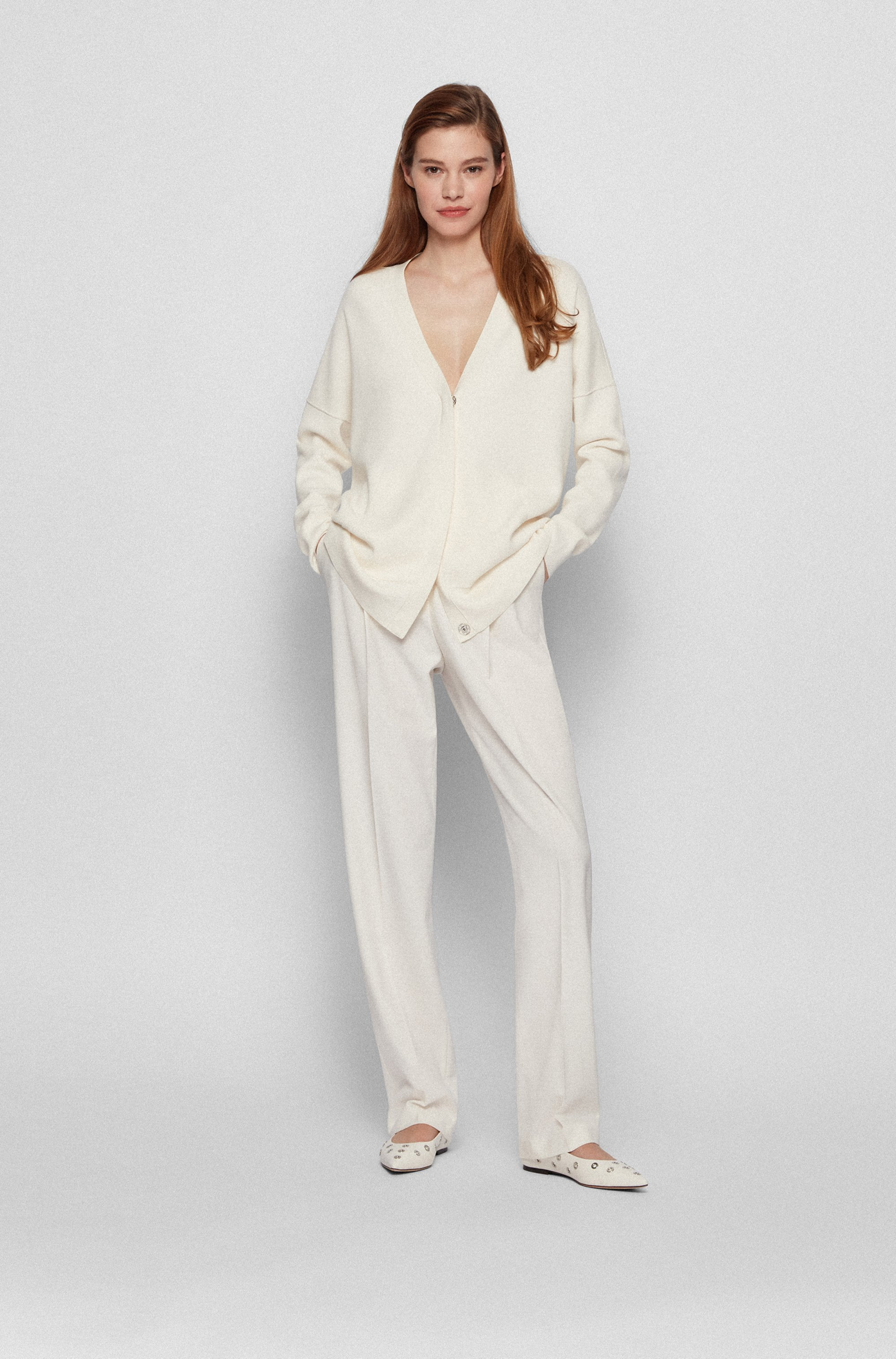 Oversized-fit cardigan with covered placket