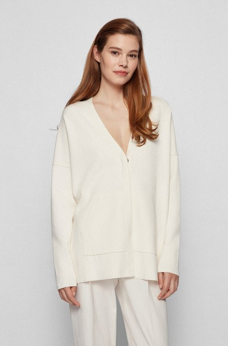 Oversized-fit cardigan with covered placket, White