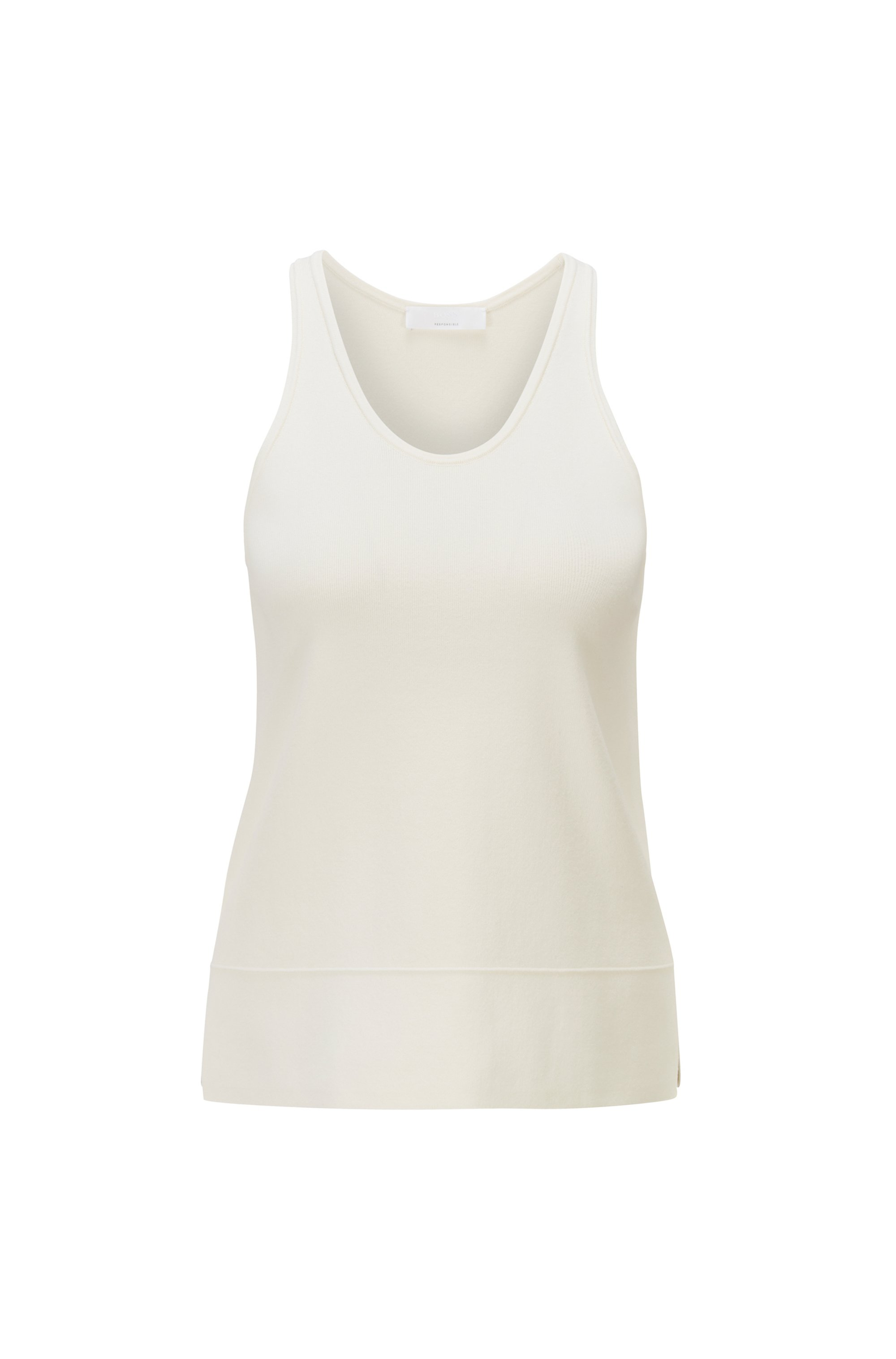 Regular-fit racerback top with scoop neckline , White