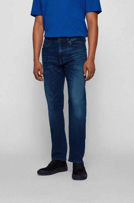 Regular-fit jeans in mid-blue super-stretch denim, Dark Blue