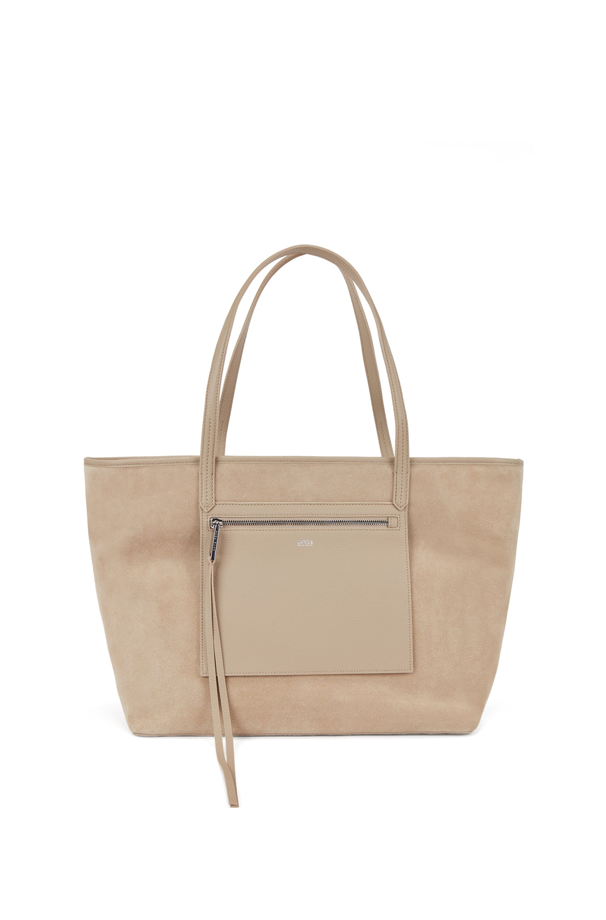Shopper bag in suede and leather with external pocket, Beige