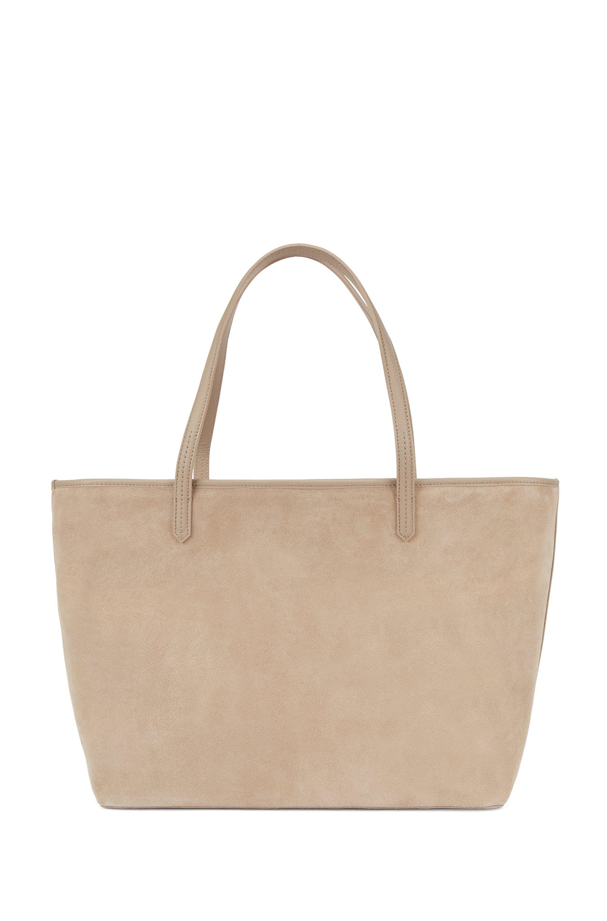 Bolso shopper en ante y piel con bolsillo exterior