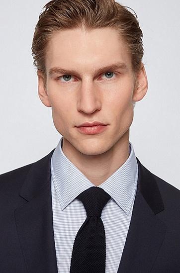 高性能棉质迷你格纹修身衬衫,  420_Medium Blue