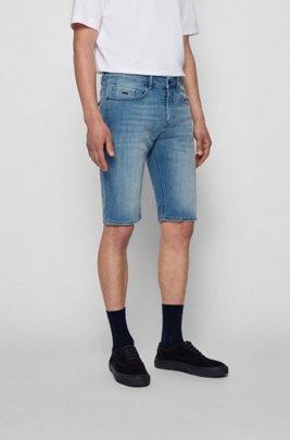 Tapered-fit shorts in bleached-blue super-stretch denim, Blue