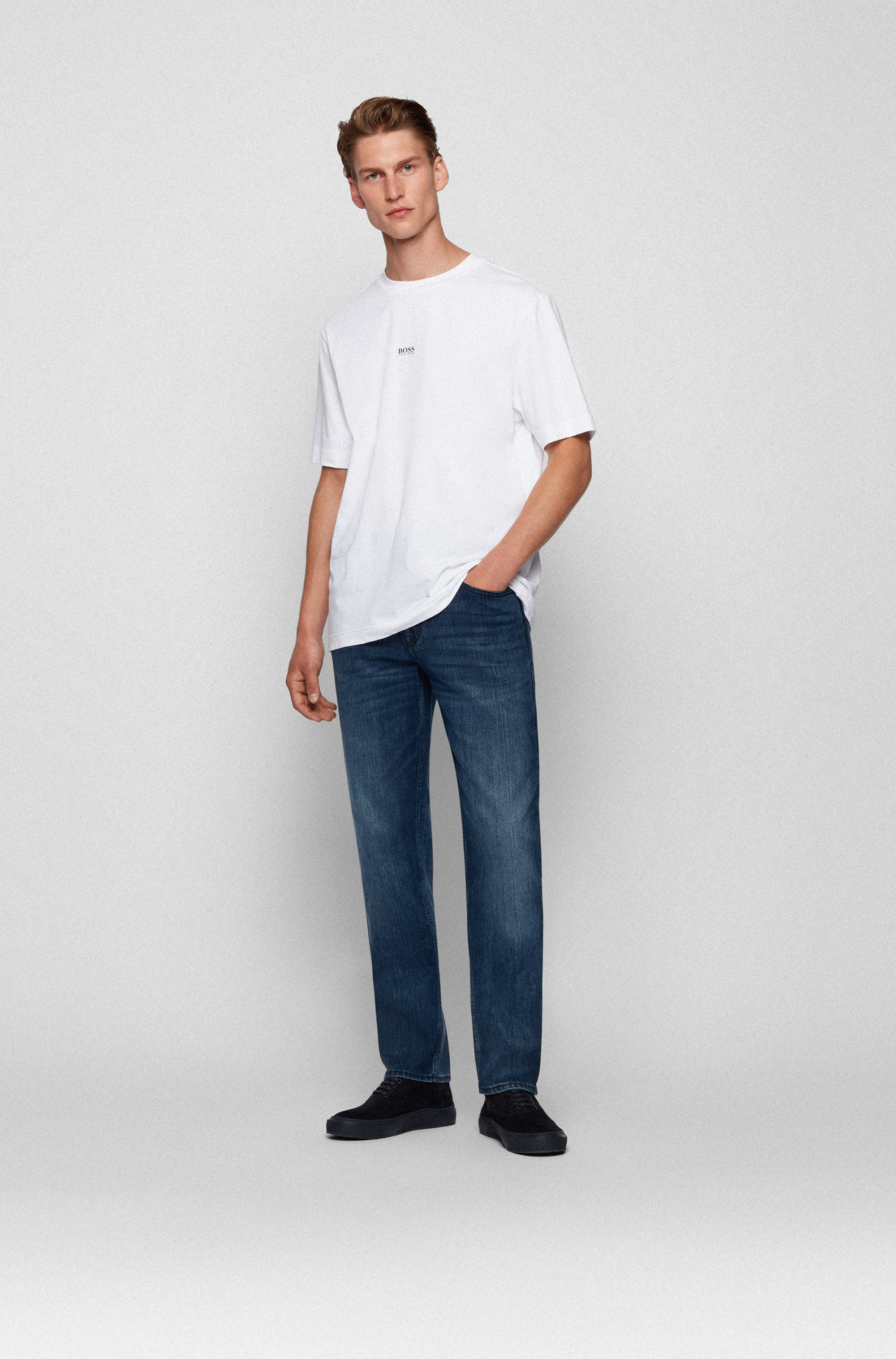 Blauschwarze Relaxed-Fit Jeans aus komfortablem Stretch-Denim