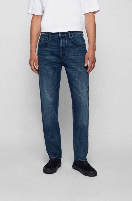 Relaxed-fit jeans in blue-black comfort-stretch denim, Dark Blue