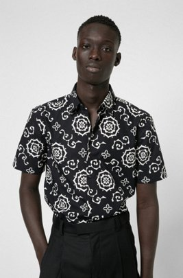Cotton-canvas slim-fit shirt with all-over print, Black Patterned