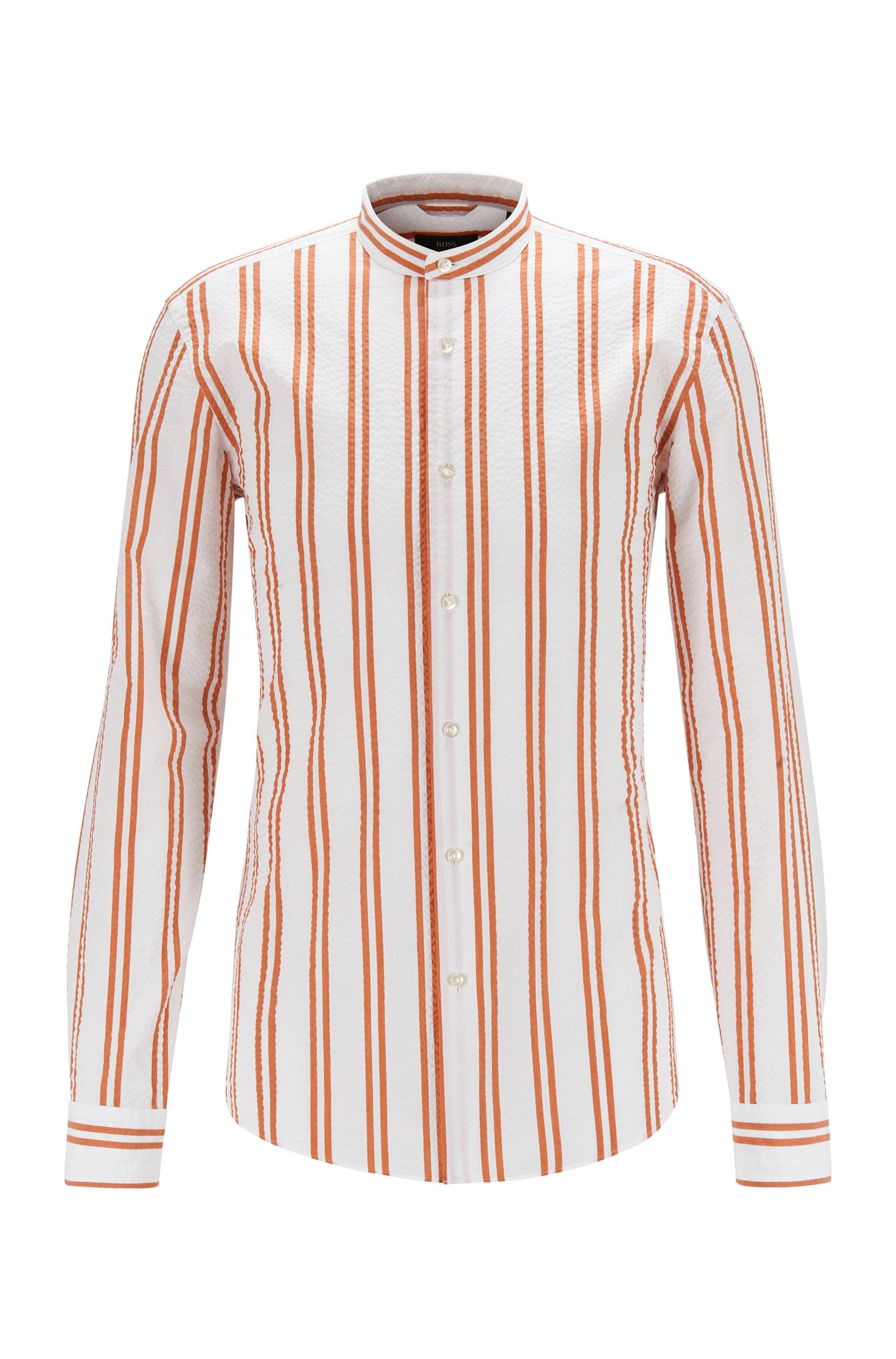 Gestreept slim-fit overhemd van seersucker met opstaande kraag, Oranje met dessin