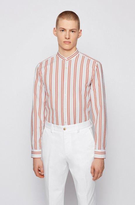 Striped-seersucker slim-fit shirt with stand collar, Orange Patterned