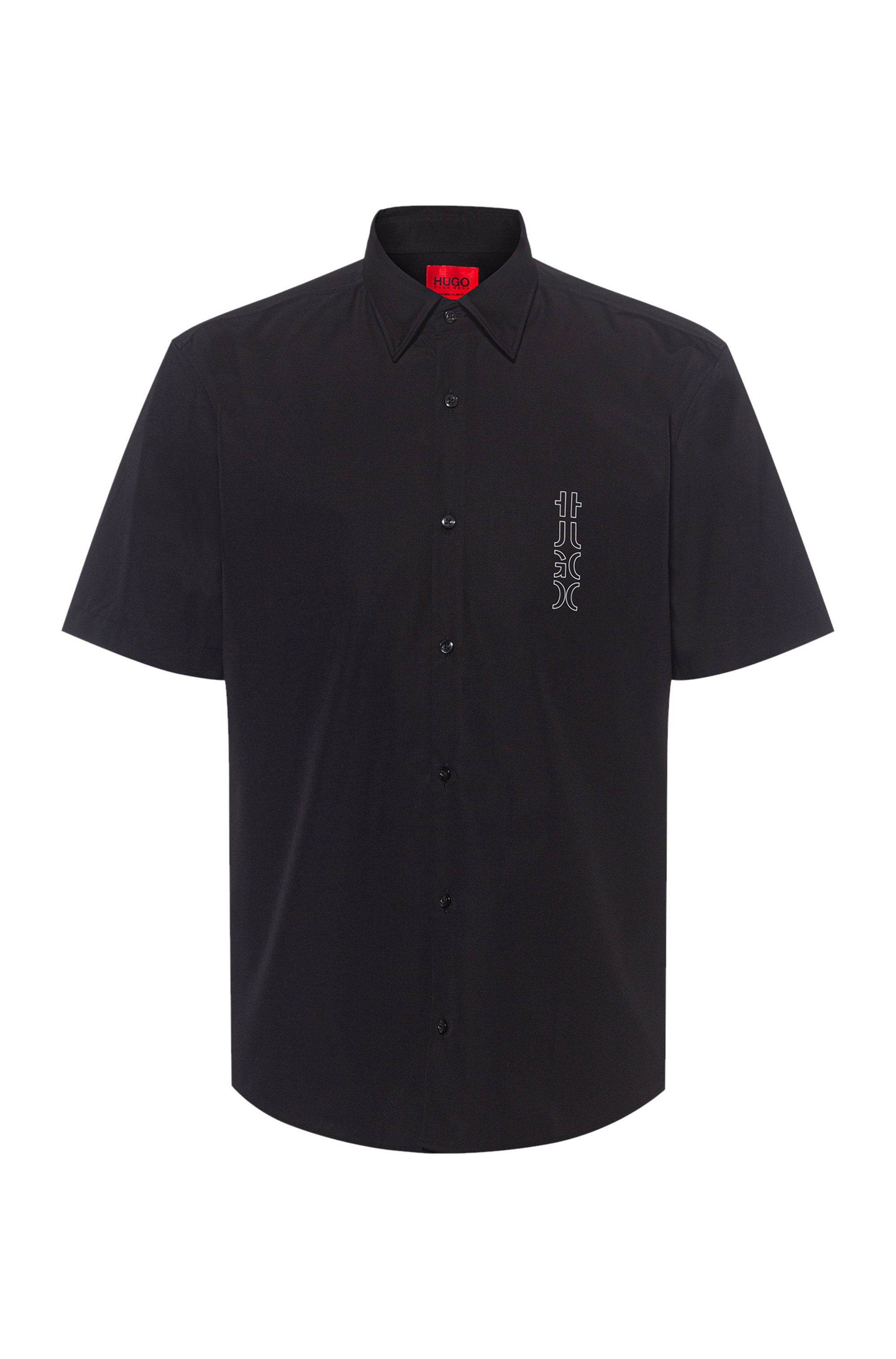 Cotton-poplin slim-fit shirt with mirrored logo, Black
