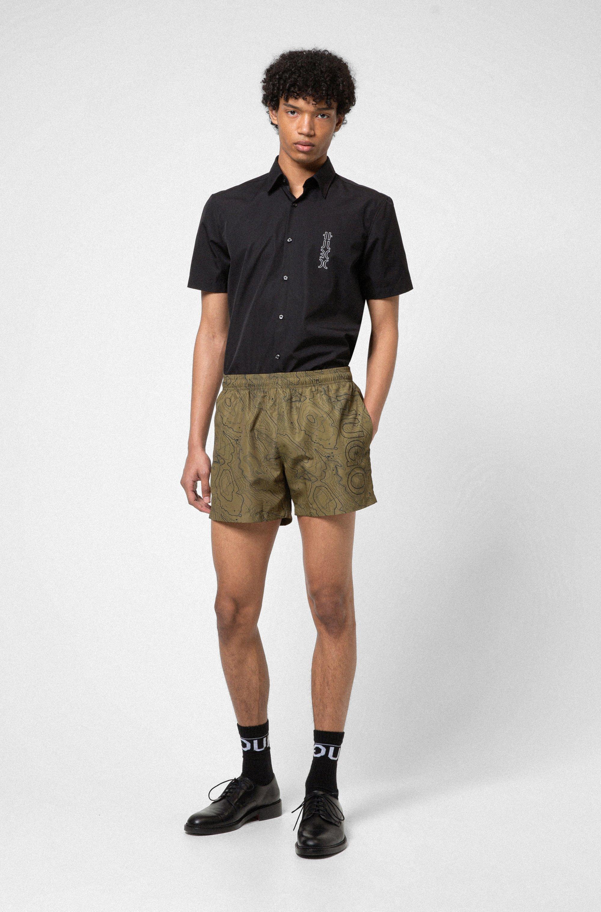 Cotton-poplin slim-fit shirt with mirrored logo