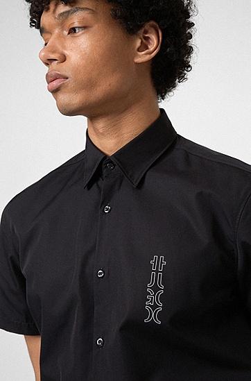 镜像标识棉府绸修身衬衫,  001_Black