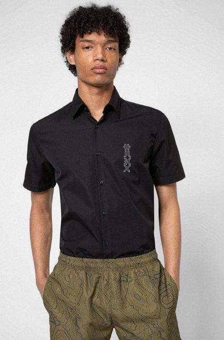 Cotton-poplin slim-fit shirt with mirrored logo, Black