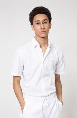 Cotton-poplin slim-fit shirt with mirrored logo, White