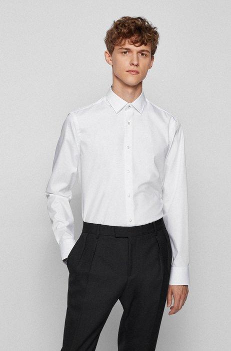 Camisa regular fit en popelín de algodón de planchado fácil, Blanco