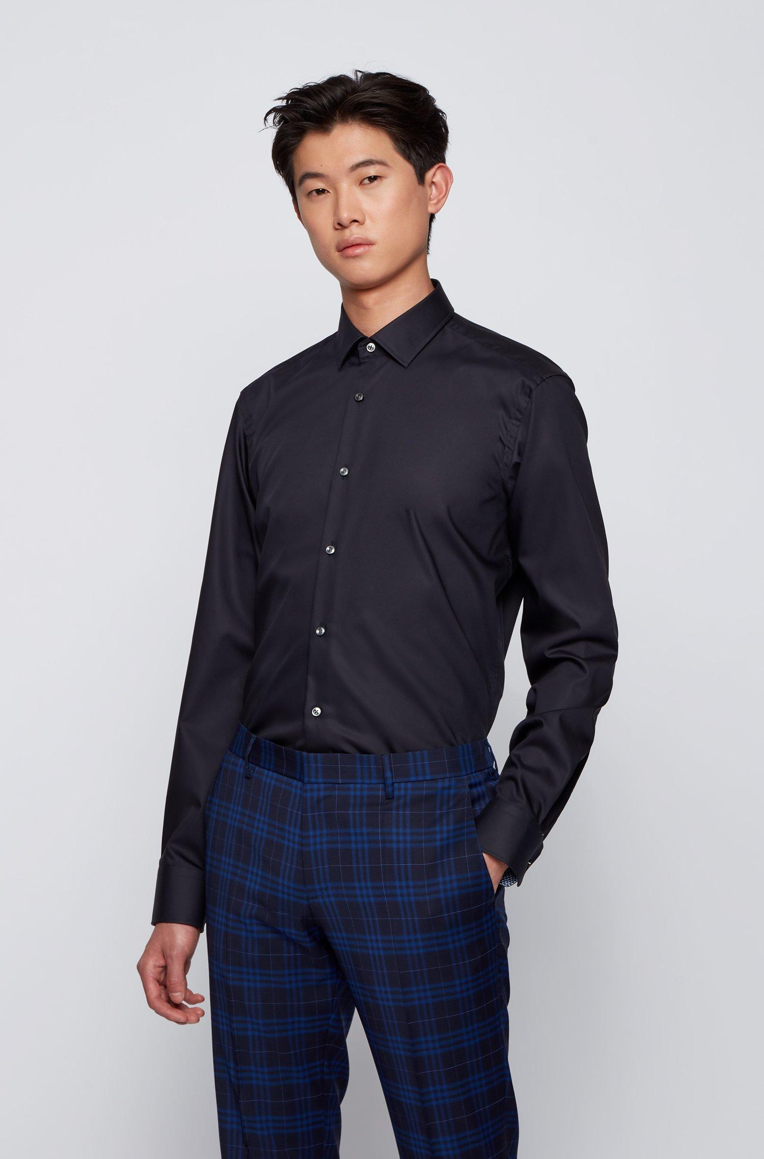 Regular-fit overhemd in een popeline van gemakkelijk te strijken katoen, Donkerblauw