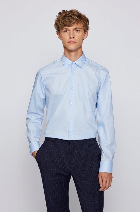 Chemise Regular Fit en popeline de coton facile à repasser, bleu clair