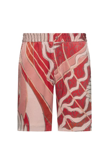 Slim-fit chino-style shorts with collection print, Red Patterned
