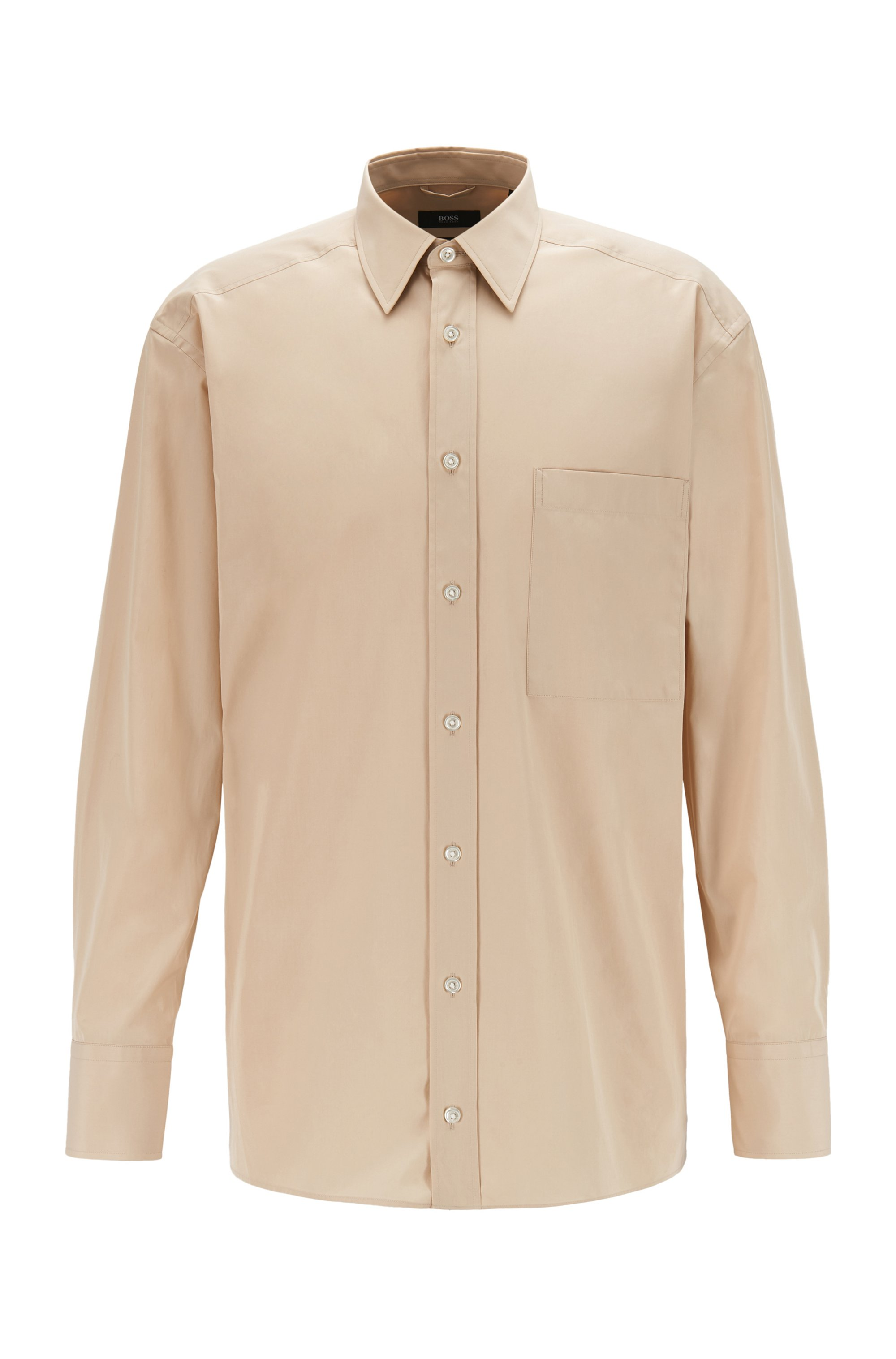 Camisa relaxed fit en popelín de algodón mate, Beige claro