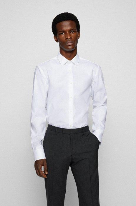 Slim-fit shirt in easy-iron cotton poplin, White