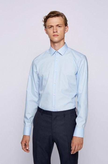 Slim-fit shirt in easy-iron cotton poplin, Light Blue