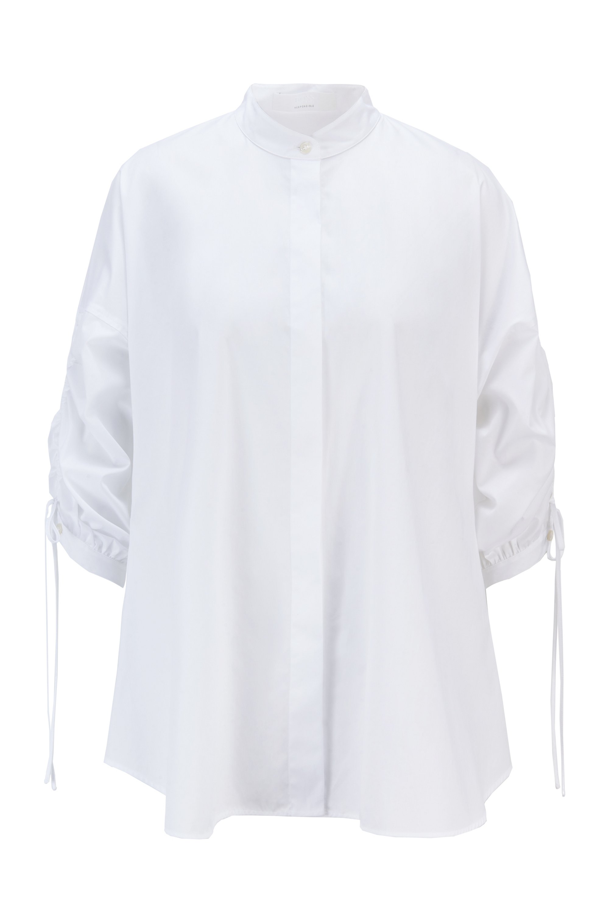 Relaxed-fit blouse in organic cotton with adjustable sleeves, White