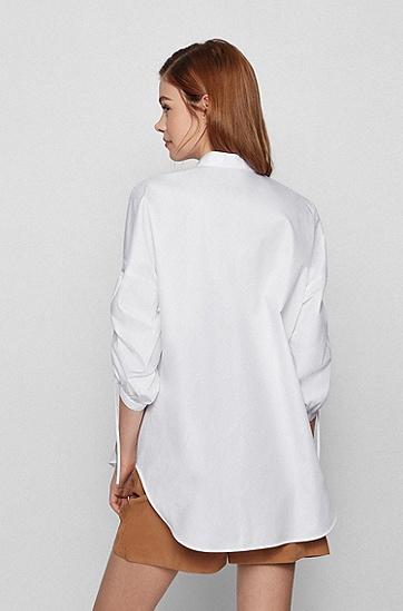 可调节衣袖宽松版型女士衬衫,  White
