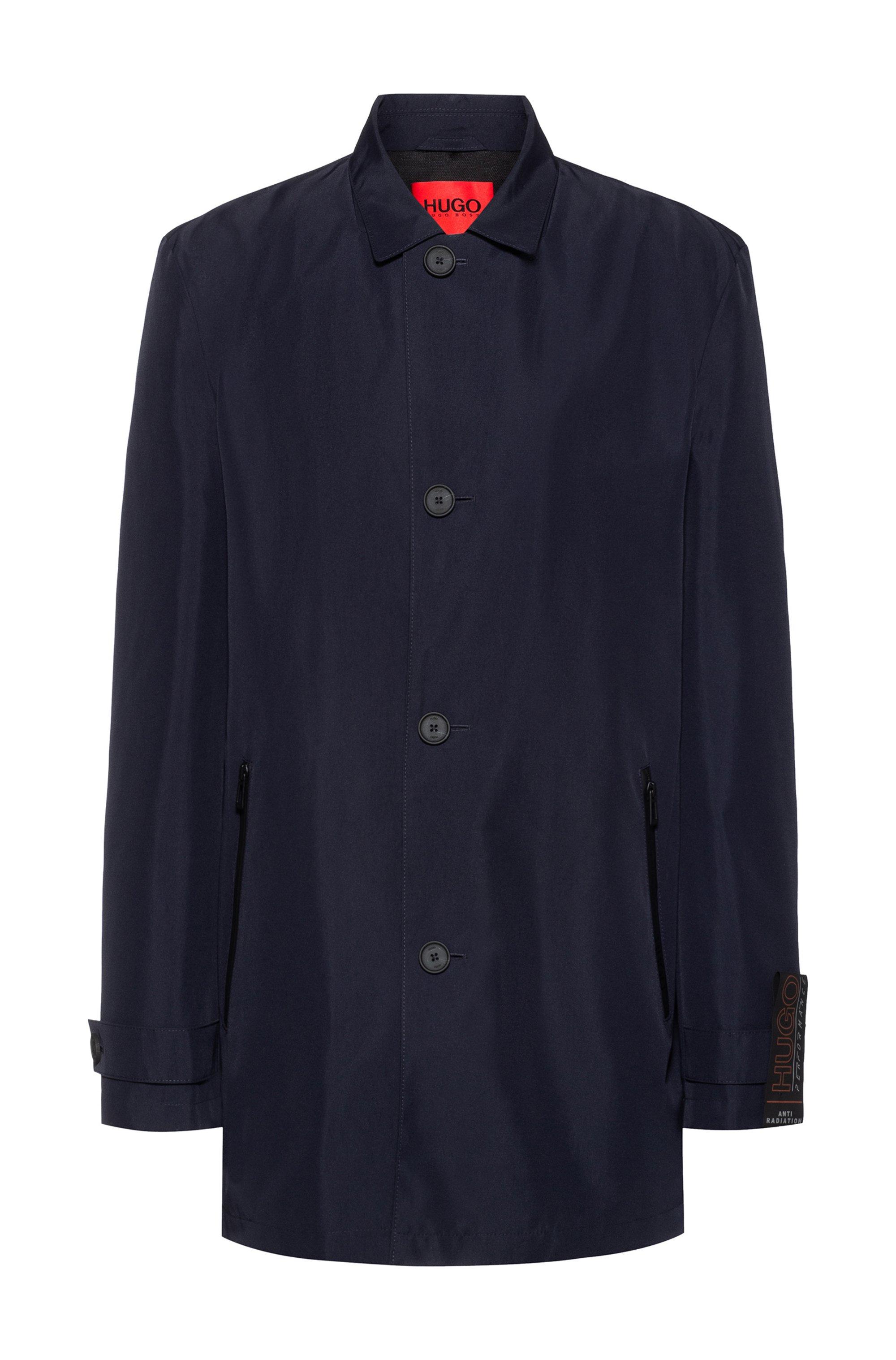 Abrigo regular fit en tejido reciclado repelente al agua, Azul oscuro