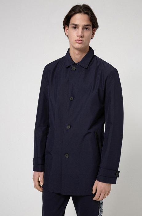 Regular-fit coat in water-repellent recycled fabric, Dark Blue