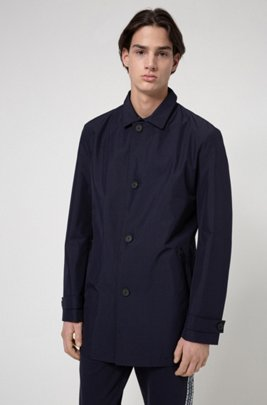 Regular-fit coat in water-repellent recycled fabric, Dark Blue