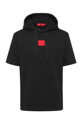 Short-sleeved hoodie in French terry with logo patch, Black