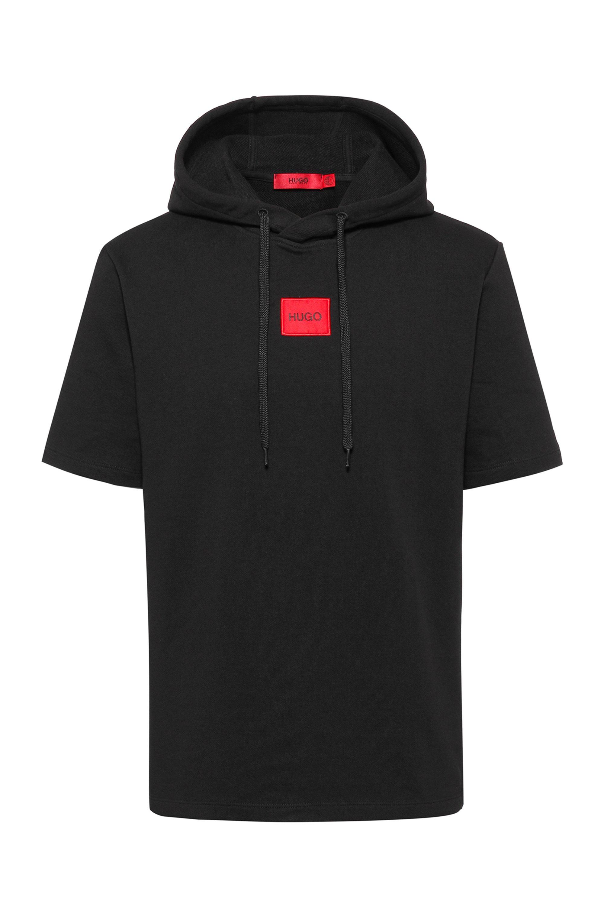 Kurzarm-Hoodie aus French Terry mit Logo-Patch, Schwarz