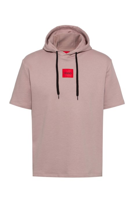 Short-sleeved hoodie in French terry with logo patch, light pink