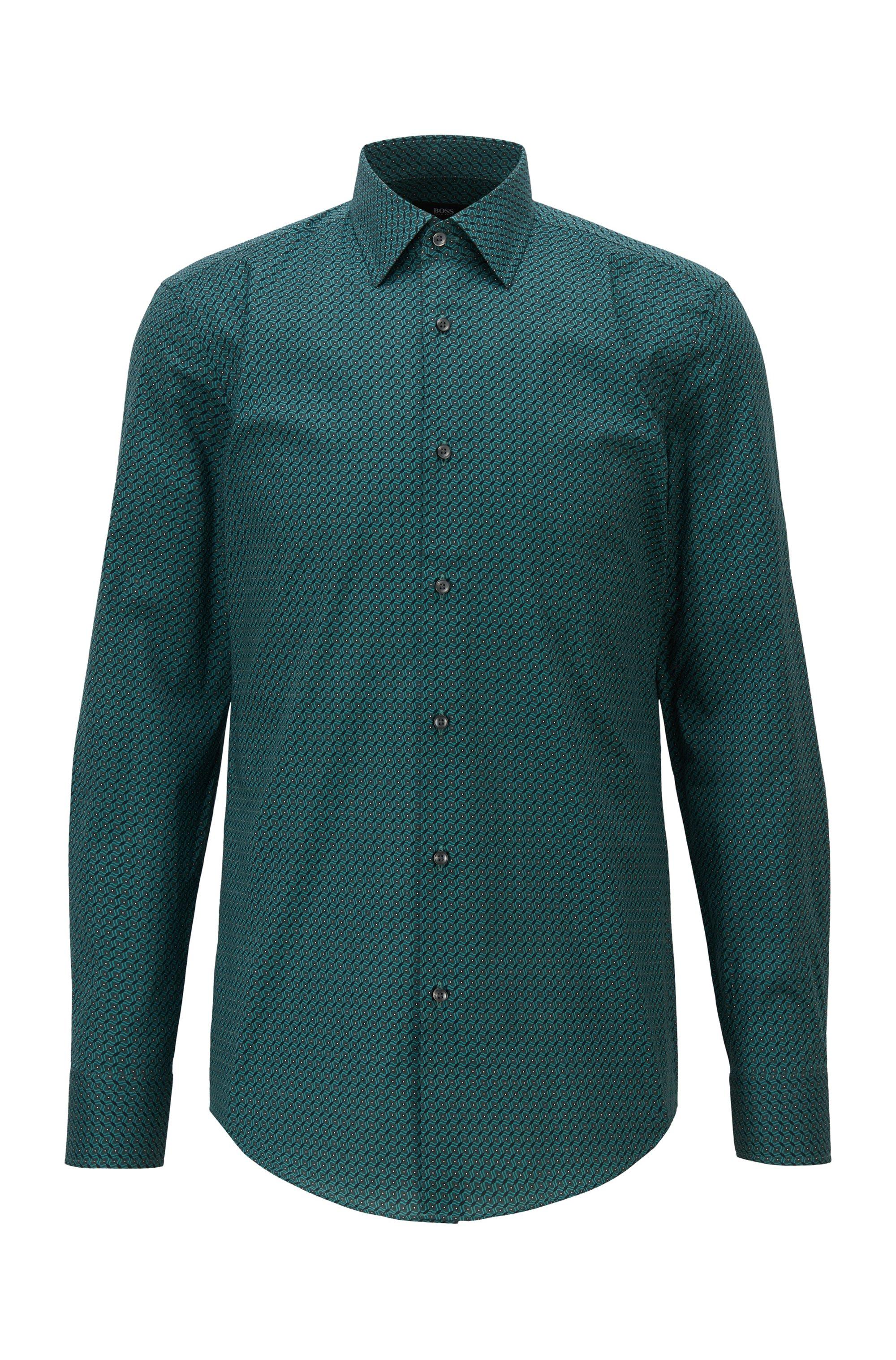 Slim-fit overhemd van Italiaanse stretchkatoen met print, Groen met dessin