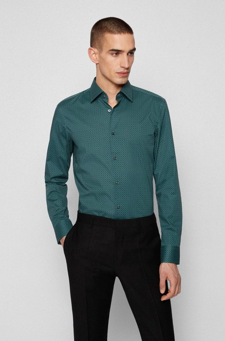 Slim-fit shirt in printed Italian stretch cotton, Green Patterned