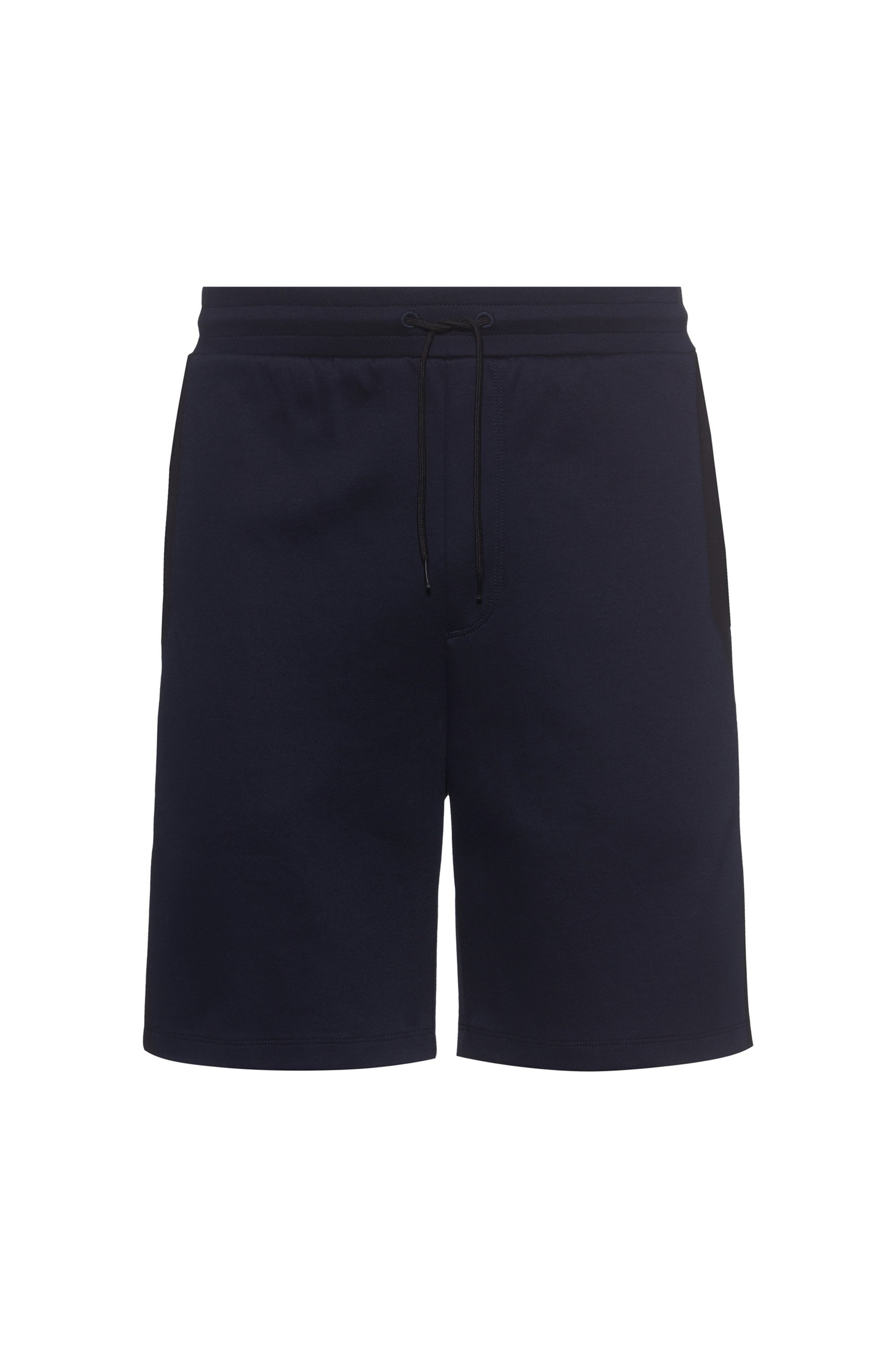 Mercerised cotton-blend shorts with contrast panels, Dark Blue
