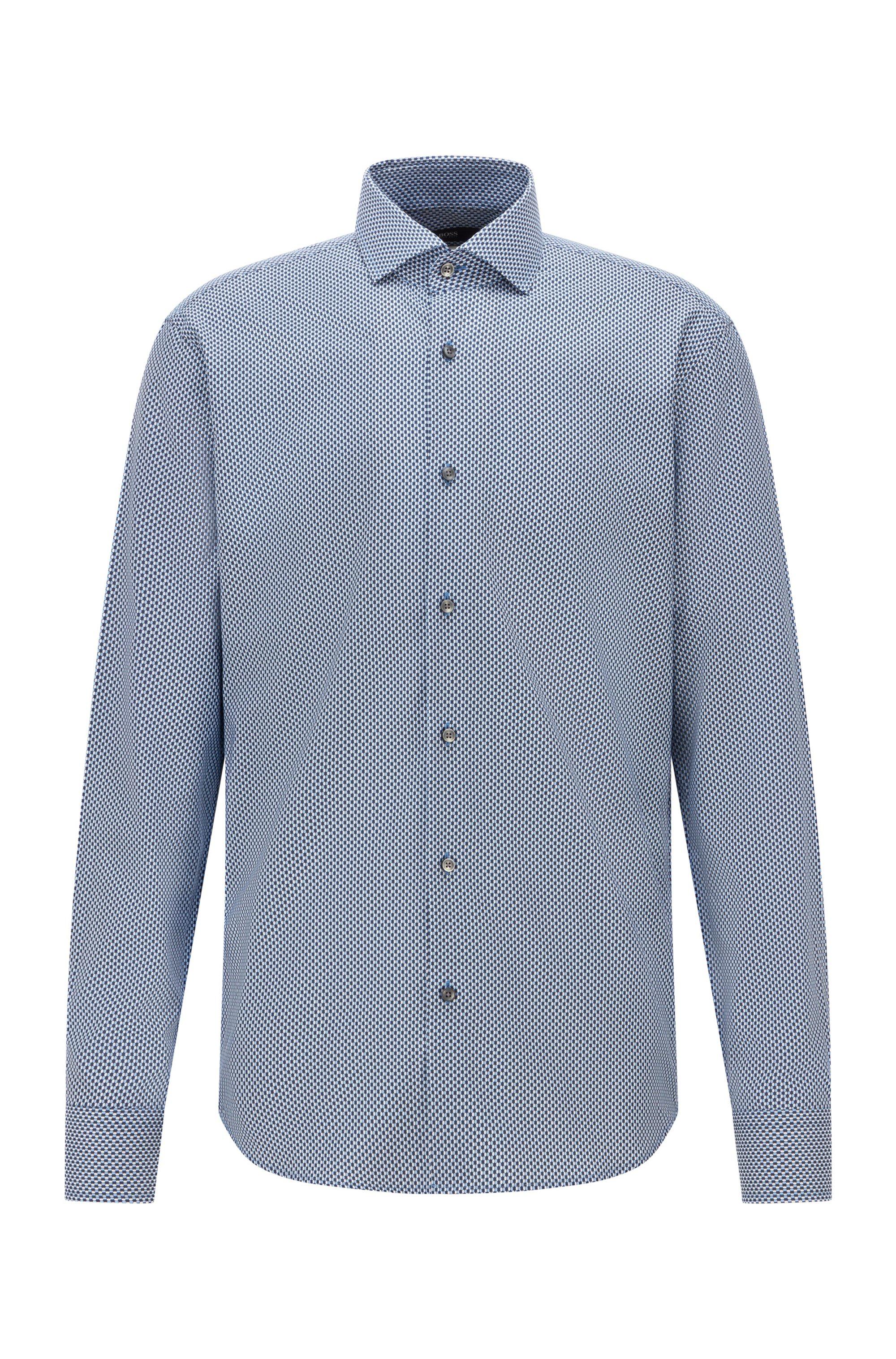 Regular-fit overhemd van Italiaanse twill met geometrische print, Blauw met dessin