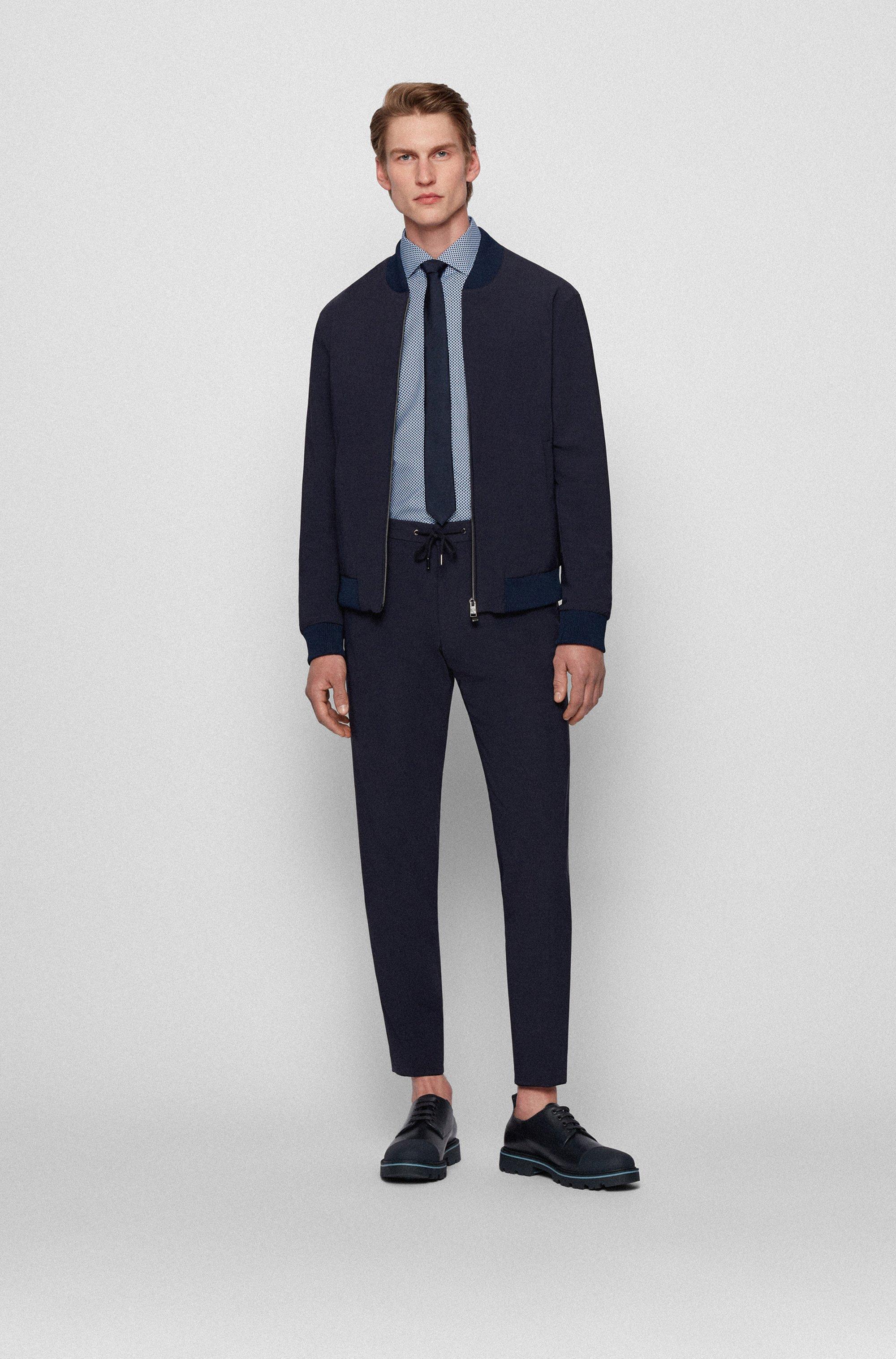 Regular-fit overhemd van Italiaanse twill met geometrische print