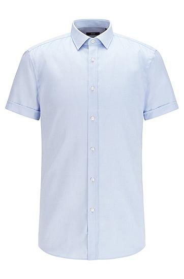 清爽饰面处理纹理棉质修身衬衫,  450_浅蓝色